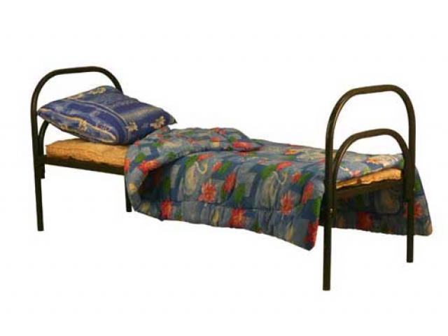 Одноярусные металлические кровати для вагончиков.